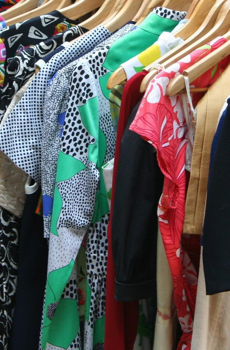 Thrift clothing, clothes on a rack