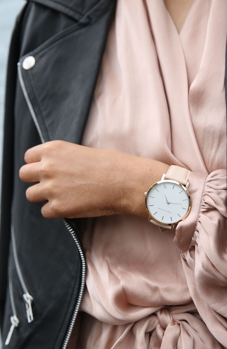 Watches for women, pink women's watch wearing pink top with leather coat
