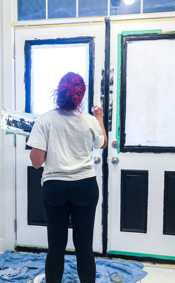 Painting door frame black