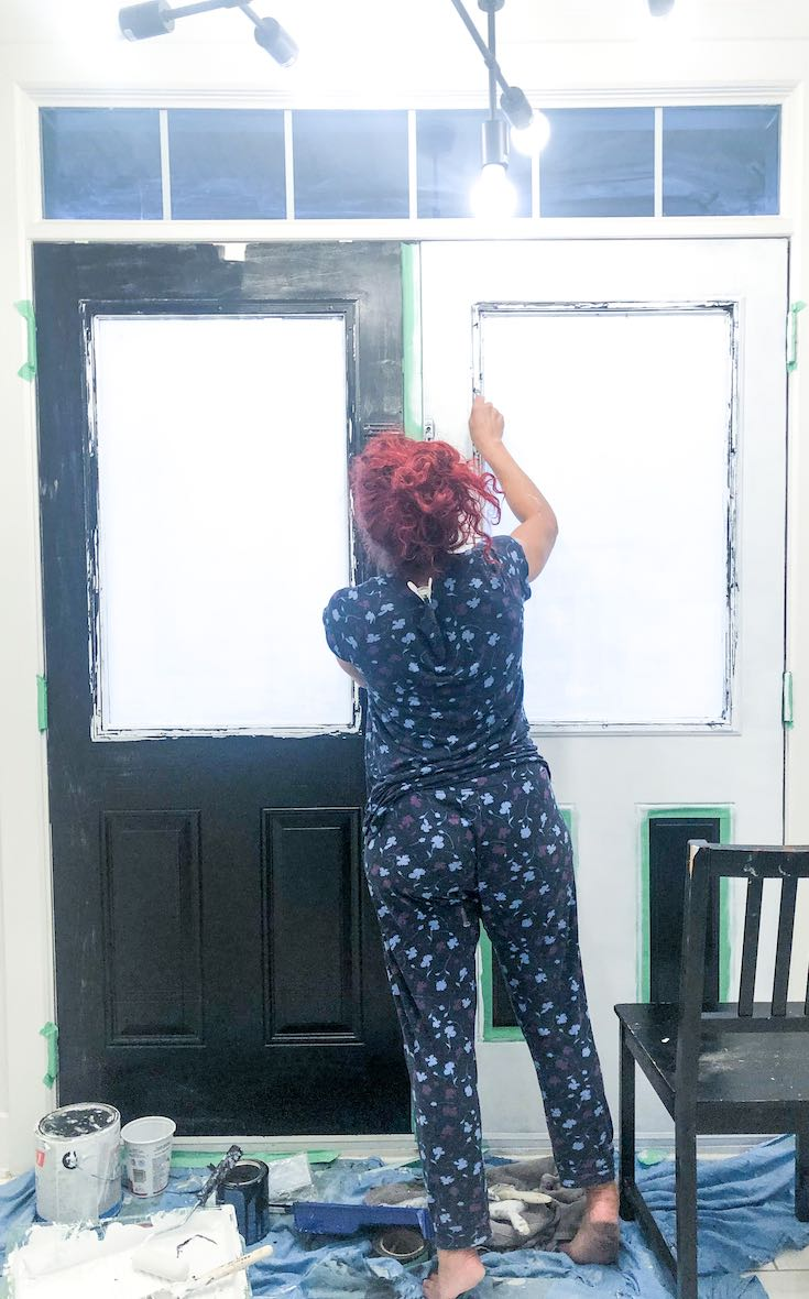 Removing white paint from door glass