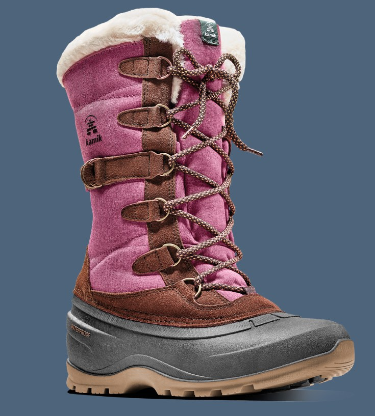 Pac boots for women in burgundy