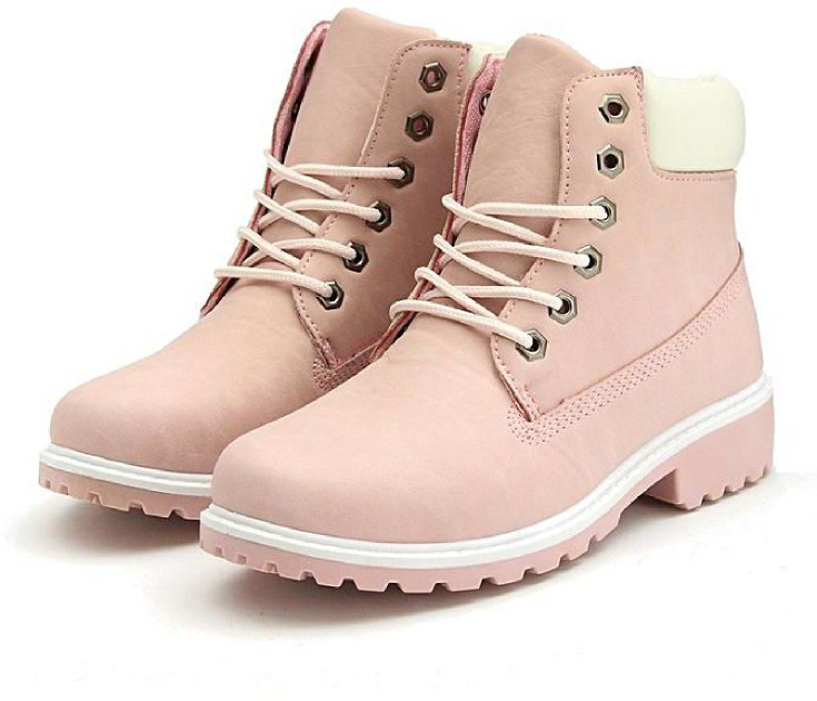 Pink winter work boots for women