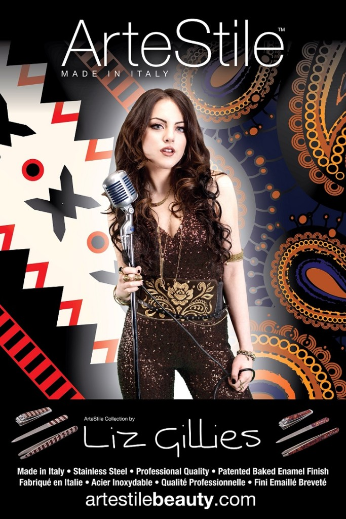 Liz Gillies with background for Artestile campaign