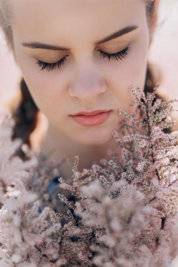 Woman's eyelashes with mascara