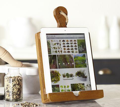 Cutting board tablet holder