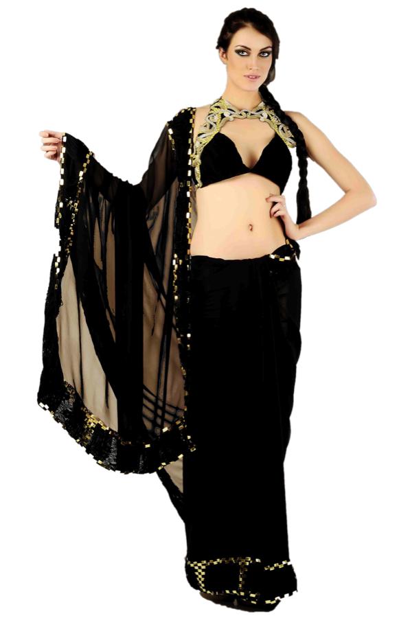 Black georgette saree with halter-neck blouse