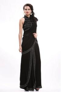 Pre-draped black saree