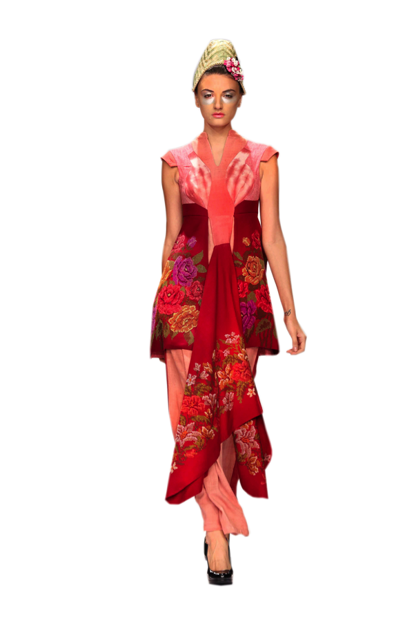 Tudor arch inspired gown in pure Eri Ahimsa silk with woven floral print