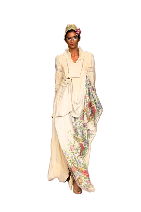 Victorian=inspired off white pure Eri Ahimsa silk gown with woven floral print