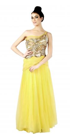 Yellow one shouldered embroidered gown