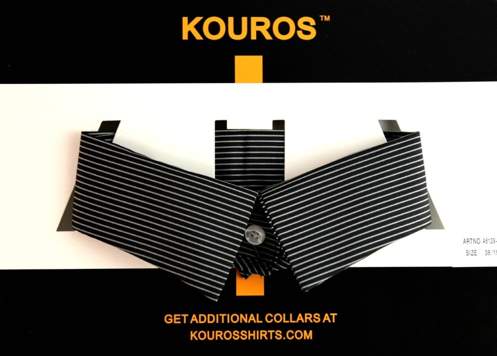 OnCollar removable collar in London black with white stripes