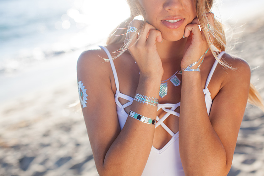 Metallic temporary tattoo bracelets