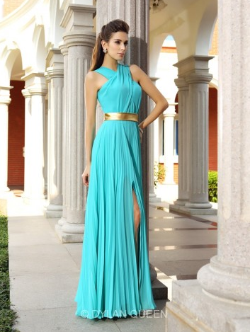 A-Line Princess Sleeveless Chiffon Pleats Floor-Length Long Dresses - $121