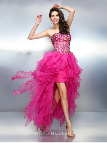 A-line Princess Sweetheart Rhinestone Sleeveless Asymmetrical Organza Dress - $146