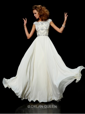 Chic Ball Gown High-Neck Sleeveless Chiffon Beading Dress - $149