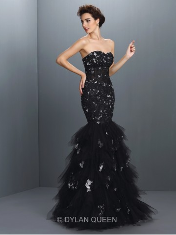 Trumpet Mermaid Sweetheart Paillette Sleeveless Long Net Dress - $188