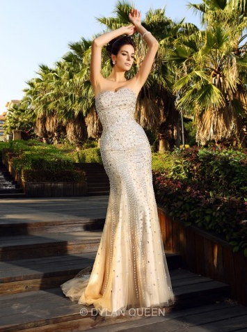 Trumpet Mermaid Sweetheart Sleeveless Beading Court Train Satin Dresses - $313
