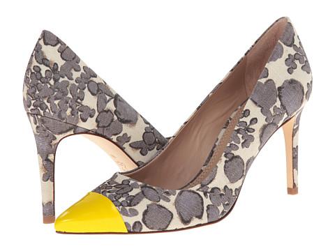 Tory Birch yellow and grey print heels