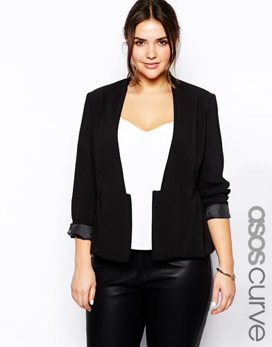 Asos black curve blazer with cropped lapel and split hem