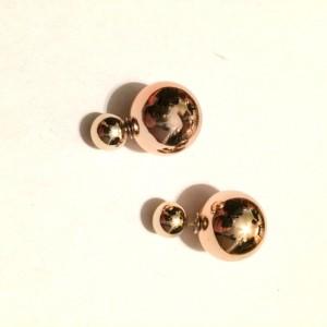 Rose gold metallic double pearl earrings