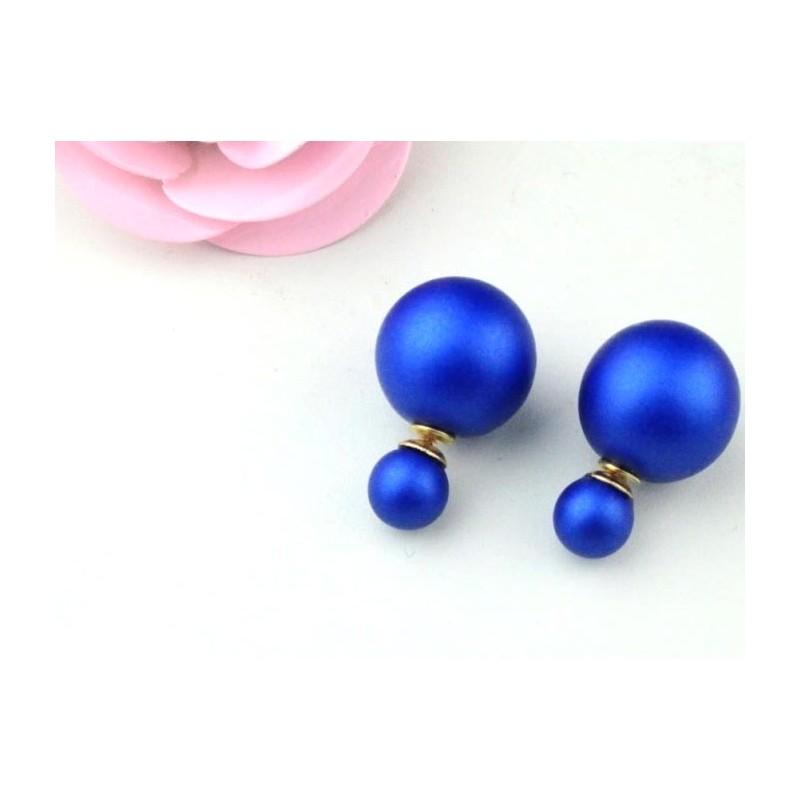 Royal blue matte metallic double pearl earrings