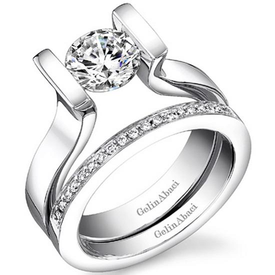 Custom engagement ring tension cut ring