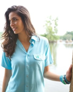 Outdoor activities fashions ladies blue shirt