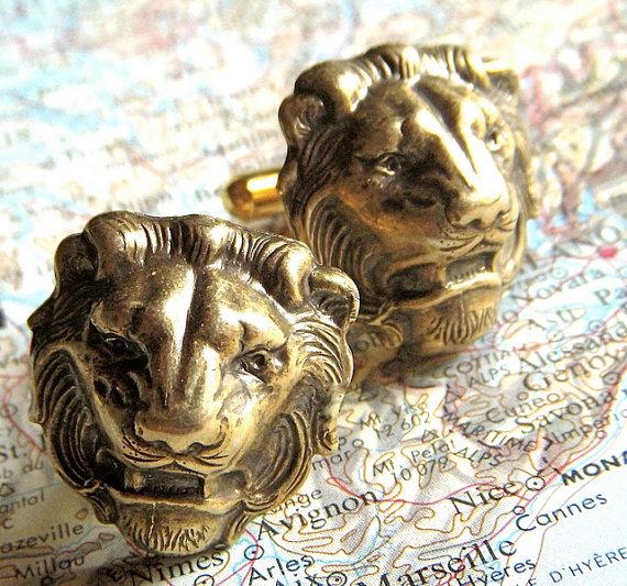 Men's lion cufflinks