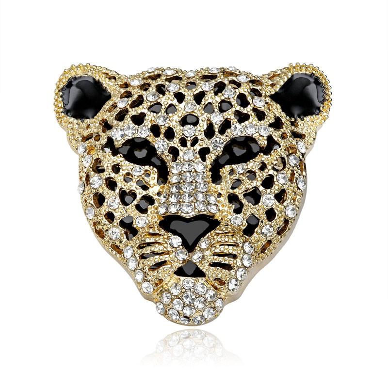 Animal head accessories in fashion - Leopard brooch pins rhinestone, gold plated