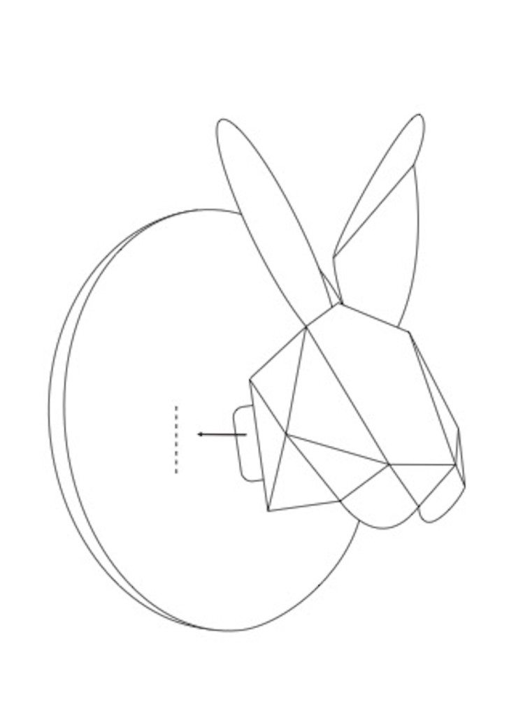 Animal head accessories at home - Rabbit bust origami