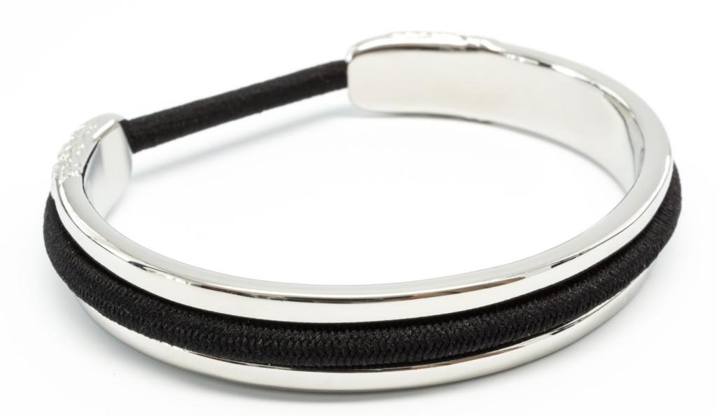 Bittersweet elastic hair tie holder silver bracelet