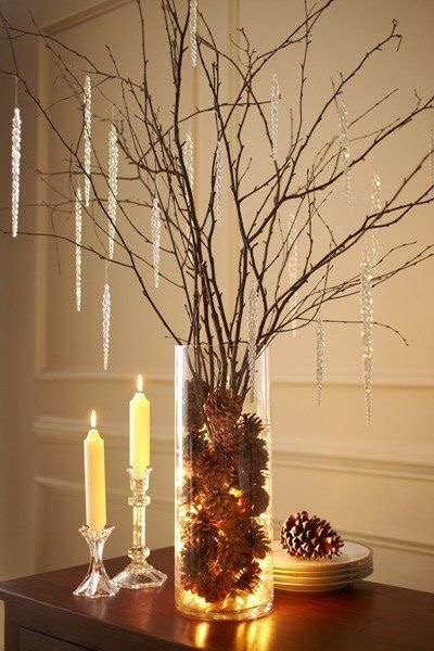 Branches in a hurricane vase