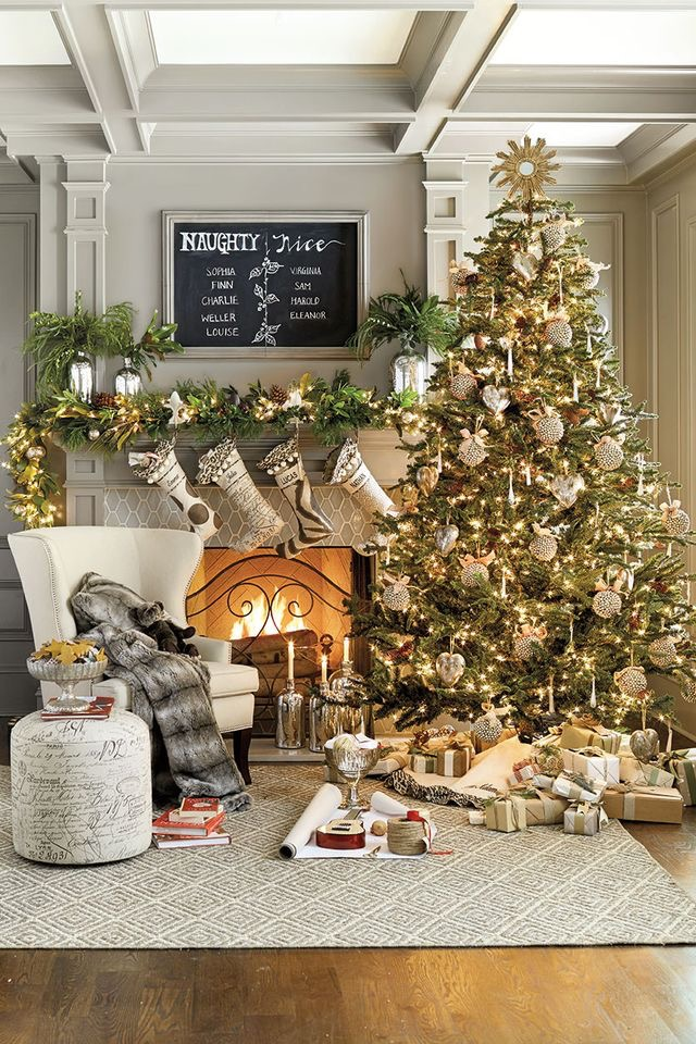 Christmas tree and fireplace décor