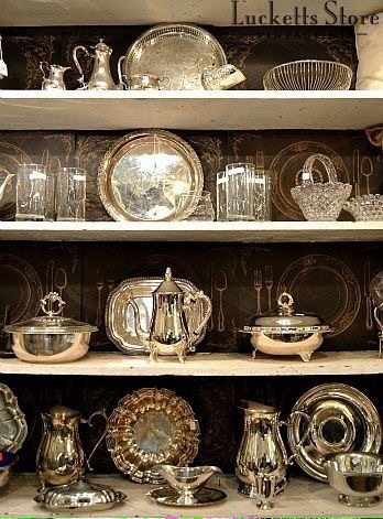 Antique look silver serving dishes