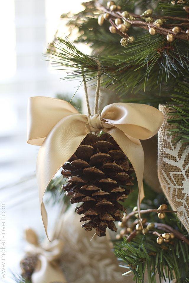 Pine cone ornament with ribbon