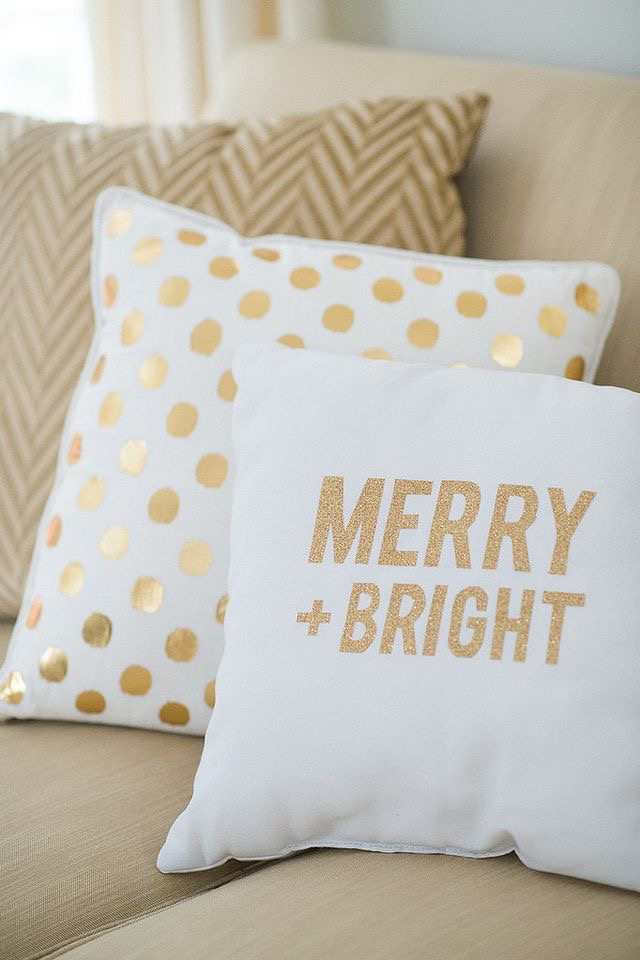 Gold foil throw pillows