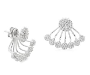 Sterling silver cubic zirconium pave disc swin earrings