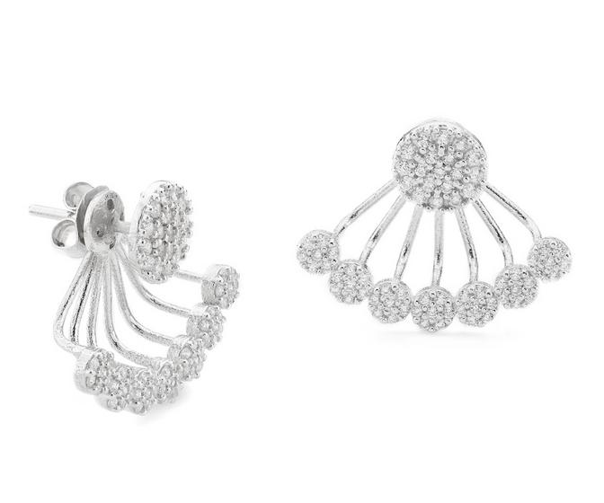 Sterling silver cubic zirconium pave disc swin earrings