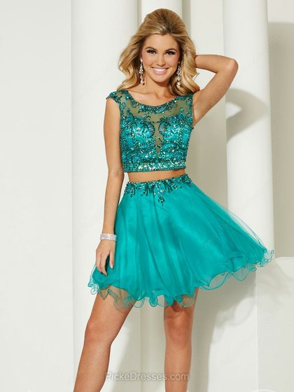 Turquoise scoop mid riff short dress