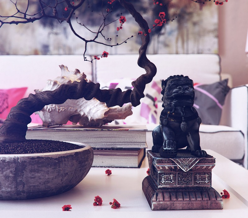 Bonsai tree decoration modern room with bright elements