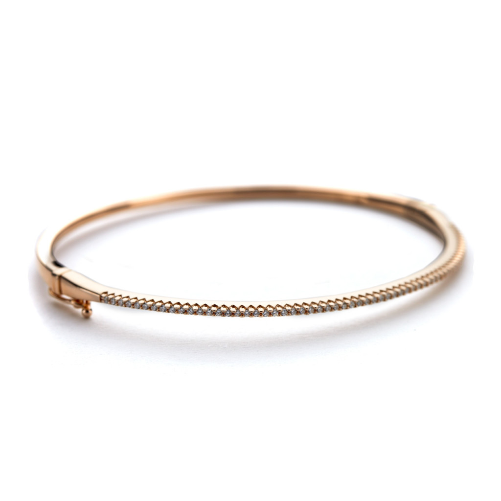 CZ rose gold oval bangle