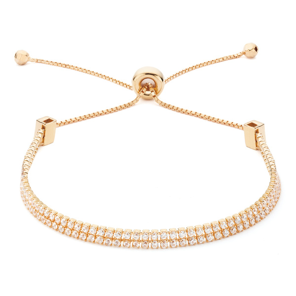 Rose gold double strand CZ adjustable slide bracelet