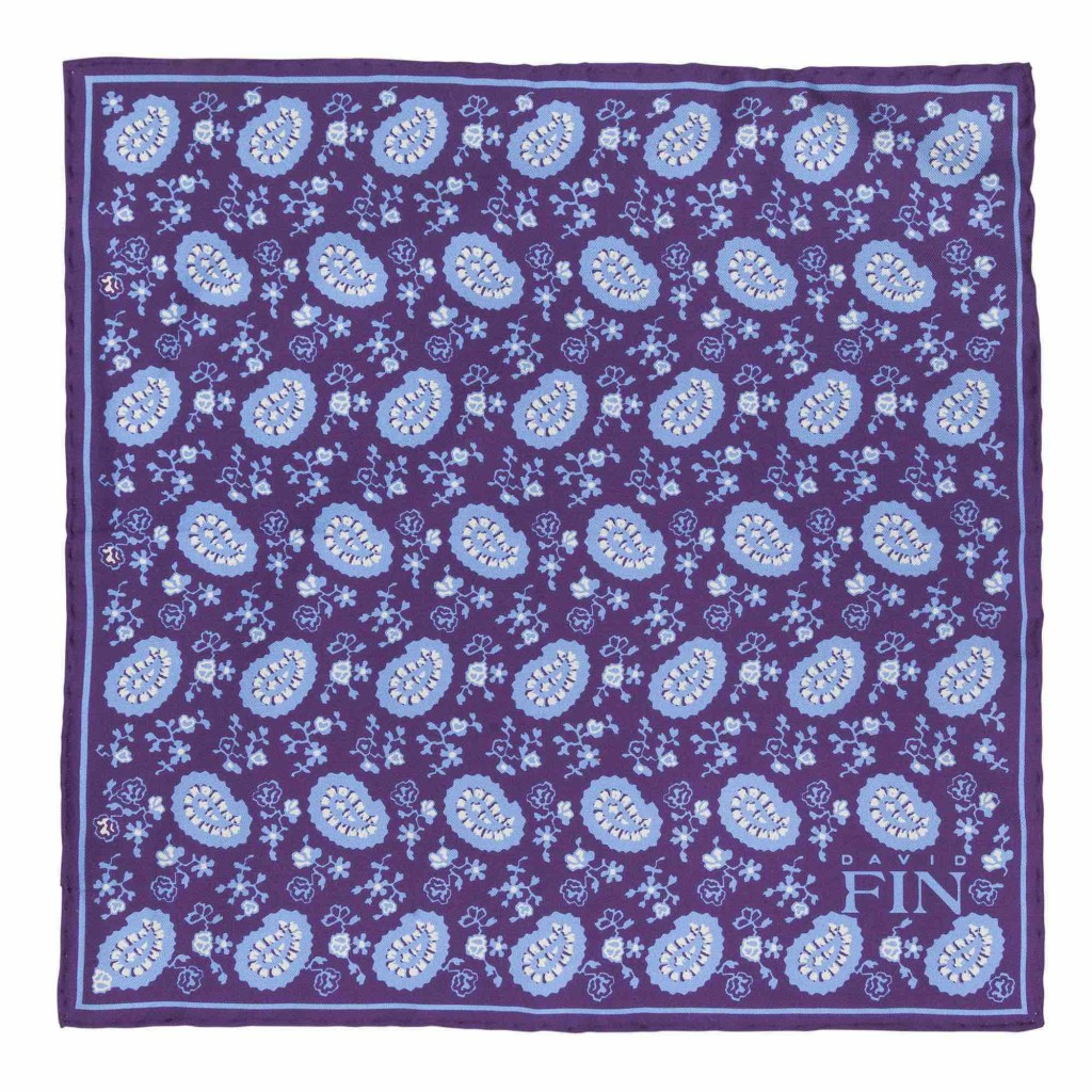 Holiday gifts that give back - David Fin purple and blue paisley pocket square