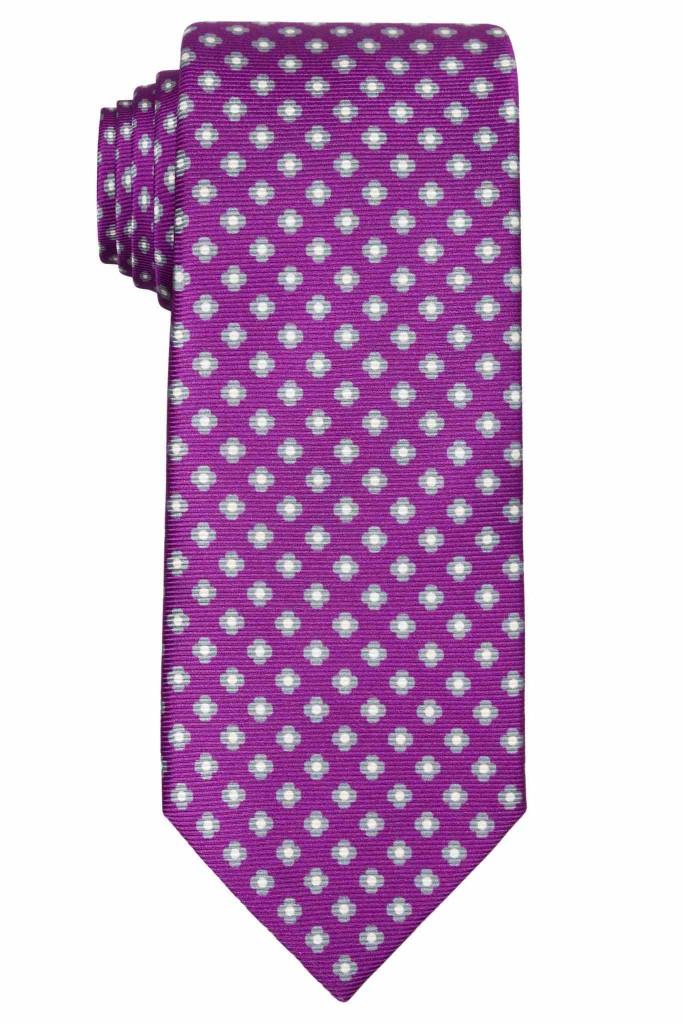 David Fin purple and grey floral print tie