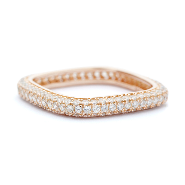 Rose gold crystal square ring