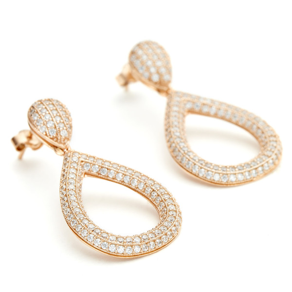 Rose gold solid teardrop pave cz earring in sterling silver