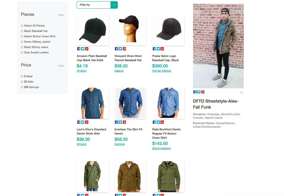 Screenshot shop the look