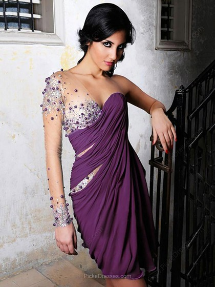 One shoulder PURPLE draped, see-through dress with beading