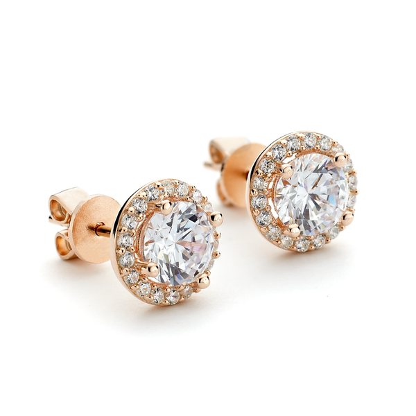 CZ rose gold stud earrings
