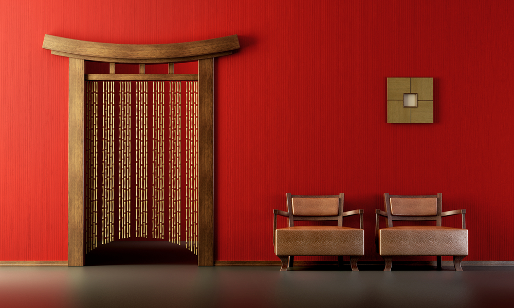 Asian décor with wood elements and red walls